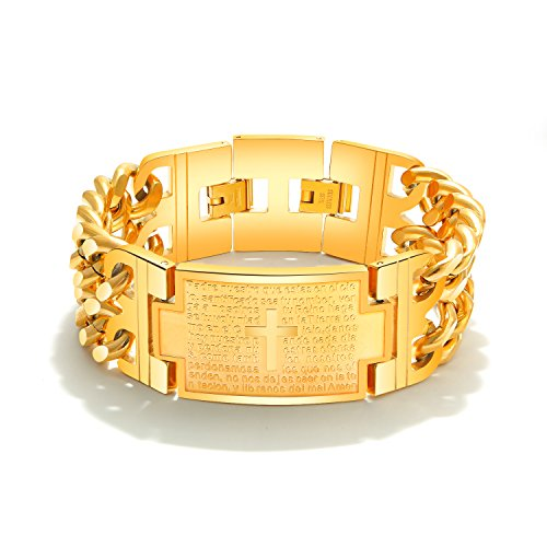 INSEA Vintage Stainless Steel Cross Bible Lords Prayer Religious Link Wrist Bracelet (Gold)