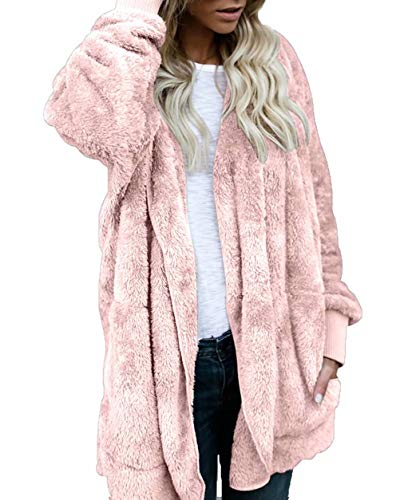 Hooded Fleece Cardigan Women Winter Fuzzy Jacket Oversized Outwear Coat Pink S