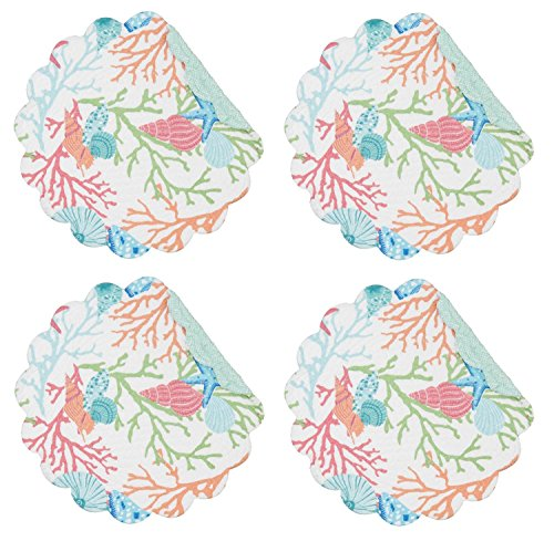 C&F Home Caribbean Splash Colorful Ocean Sea Shells and Coral Round Cotton Quilted Single Placemat Round Placemat Blue ()