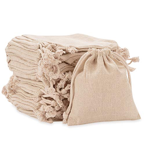 50Pcs Small Burlap Bags Small Jewelry Bag with Drawstring Jewelry Pouches Sacks Lavender Sachets with Heart for Jewelry Tea Storage, Wedding Party, DIY Craft, Projects, Presents, Snacks -