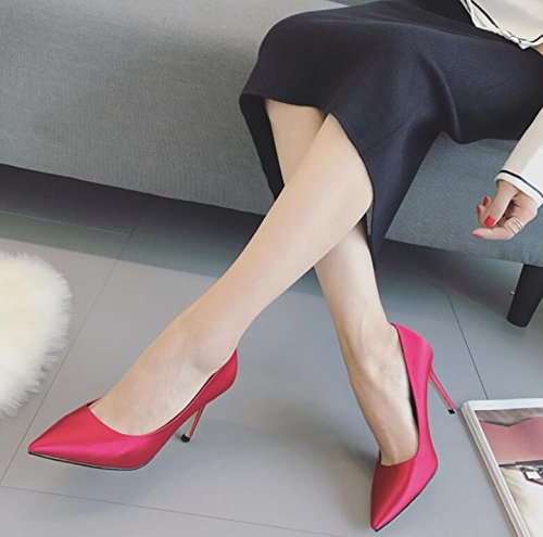 37 Solido Alto Rosa Un Scarpe Nuovo Khskx Donne Centimetri Tacco Autunno Da Sposa Scarpe Con Luce Bene Le Sottili 8 Punto A Colore Con Singolo In Scarpe FxqBTS