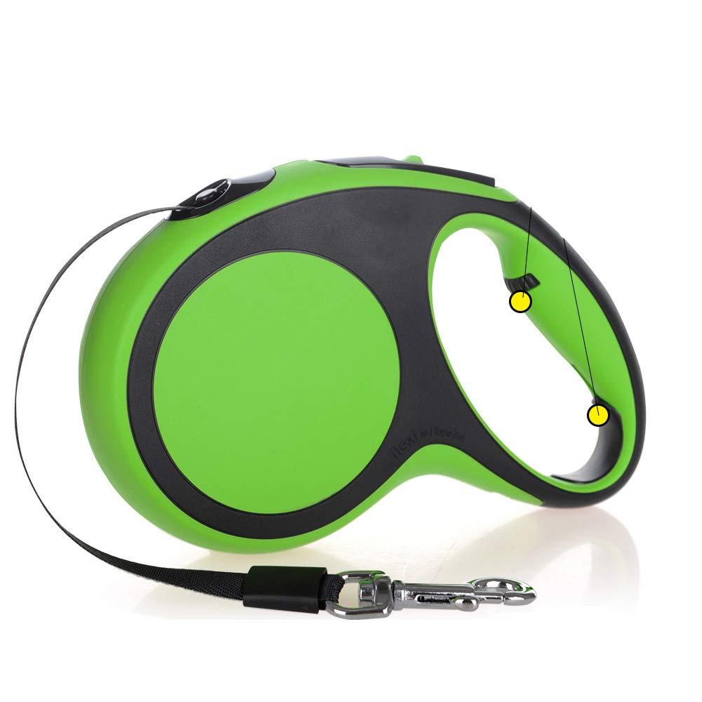 Green MediumPet Recactable Dog Lead con Ergonomica Design *Smooth Leash Retroaction Supports Medium *Grandi cani