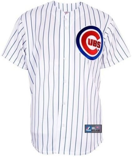 Majestic Chicago Cubs White Pinstripe Replica Baseball Jersey Big and Tall Sizes (4XT) ()