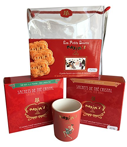 Maxim's de Paris Gourmet French Teas & Cookies & Maxim's coffee cup Gift basket 10.6oz 300g