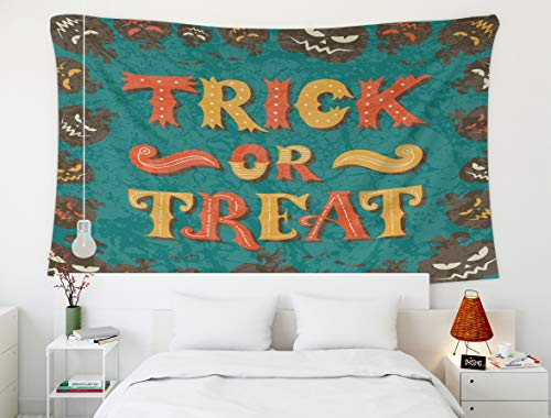 Tapestry Wall Hanging,Stripes Vector,Tapestry,Shorping 60x50 Inch Home Wall Hanging Tapestries Art for Décor Living Room Dorm Trick or treat Halloween poster with hand lettering and frame of pumpkins]()