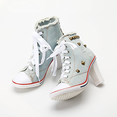 Sneakers Heel A Donna Lacci Canvas Ochenta Hellblau Tacco Blocco Ankle Rivetti Elegante Chunky Boots wBIqxaY