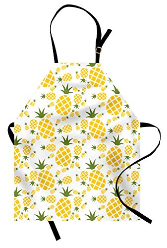 Apron, Pineapple in Pictogram Design Vintage Style Pattern Farm Vibrant Color, Unisex Kitchen Bib Apron with Adjustable Neck for Cooking Baking Gardening, Mustard Olive Green (Vintage Style Apron Patterns)