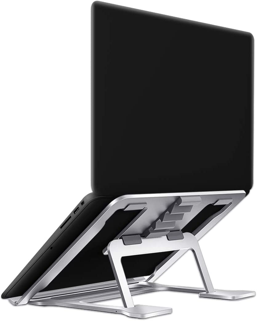 Adjustable Laptop Stand for Desk Portable 6 Steps Height Angle Foldable Computer Stand Cooling Pad Compatible with 9-15 Inch Laptops and Tablets