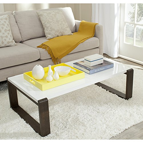 Safavieh Home Collection Bartholomew Mid-Century Modern White and Dark Brown Coffee Table