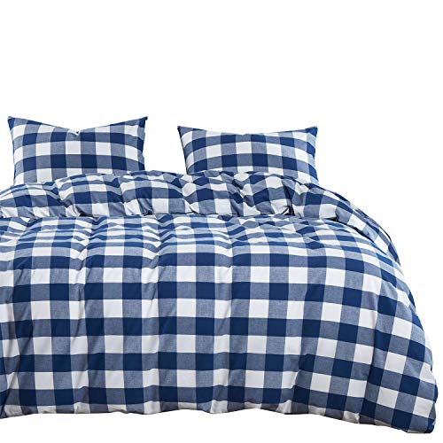 Wake In Cloud – Washed Cotton Duvet Cover Set, Buffalo Check Gingham Plaid Geometric Checker Pattern Printed in Navy Blue White, 100% Cotton Bedding, with Zipper Closure (3pcs, Full Size)