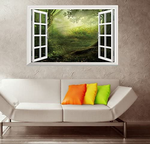 Fairy Tale Fantasy Forest 3D Window View Wall Sticker Home Decor Decal 51*72CM