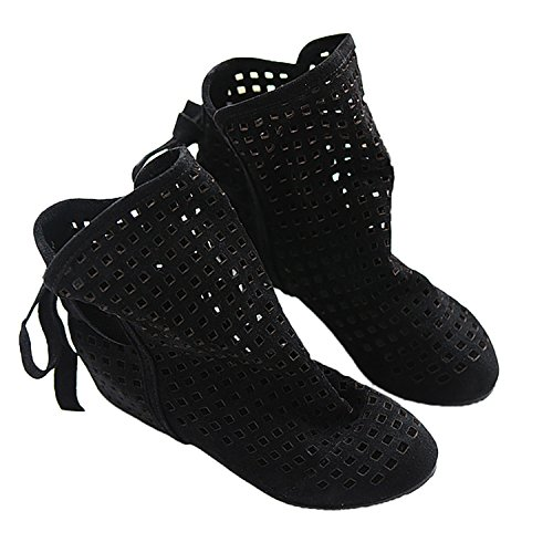 summer boot laser shoes flat Women's ankle Black boots sandals Nonbrand cut P5q1WA5w
