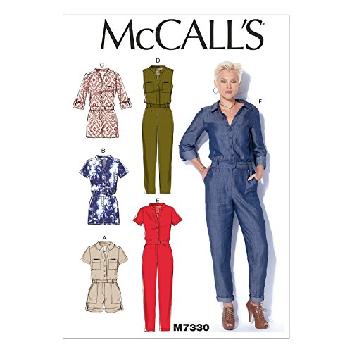 (McCall's Patterns M7330 Misses' Button-UP Utility Jumpsuits & Rompers, Y)