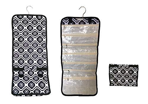 (April Fashions NCB25-18-BW Black White Geometric Pattern Hanging and Folding Cosmetic, Jewelry, Hair Accessory Organizer Storage )