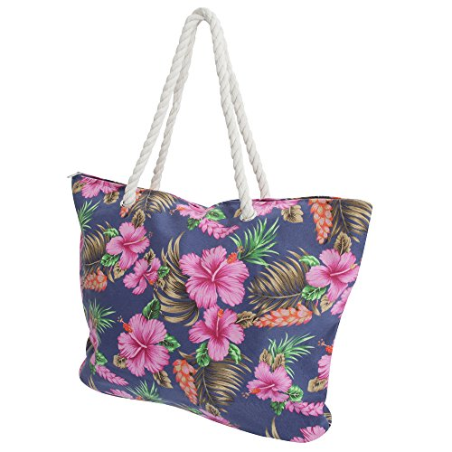FLOSO? Womens/Ladies Floral Patterned Canvas Summer Handbag Navy