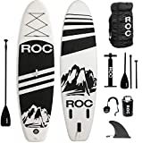 Roc Inflatable Stand Up Paddle Boards W Free Premium SUP Accessories & Backpack { Non-Slip Deck } Bonus Waterproof Bag, Leash, Paddle and Hand Pump !!! Youth & Adult (Black)