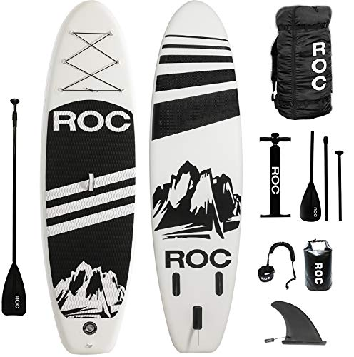 Roc Inflatable Stand Up Paddle Boards W Free Premium SUP Accessories & Backpack { Non-Slip Deck } Bonus Waterproof Bag, Leash, Paddle and Hand Pump !!! Youth & Adult (Black) ()