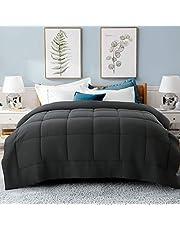 Cooldex All Season Queen Size Soft Comforter - Reversible Down Alternative Quilted Comforter Fluffy Winter Warm Ultra Duvet Insert Set (Queen 88 x 88 Inches, Dark Grey)