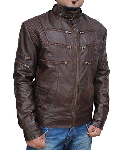 Decrum Mens Slimfit Design Brown Leather Motorcycle Jacket S