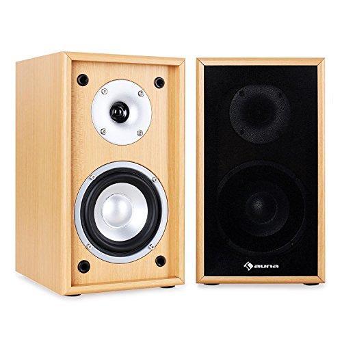 Auna line-300-SF-BH houten design boekenplankluidsprekers 2-weg home cinema hifi boxen paar (35W RMS, passief…