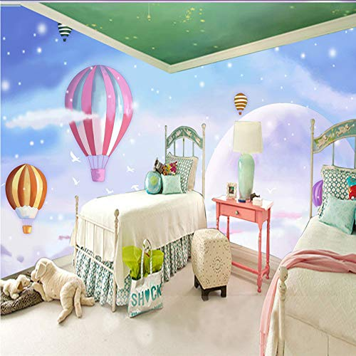 (Lifme Romantic Hot Air Balloon Cartoon Mural for Kids Room for Kids Girls Bedroom Wall Decoration Non-Woven Background Customize 3D Wallpaper-120X100Cm)