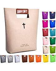 AGAPASS Christian Bible Tote Bag for Men Women Church Bag with PU Leather Handles Cute Bible Carrying Case Carved Cross Holy Bible Bag, Christian Gifts for Week Deals, Beige