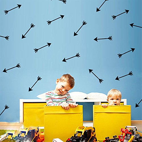 Yanqiao 24pcs/set Hot Children's Room Wall Stickers Arrow Vinyl Wall Art Removable Wall Decor About 0.98x3.94""