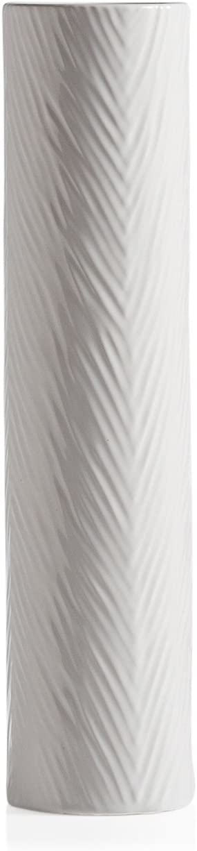 """Torre & Tagus Palm 20"""" H Ceramic Vase for Decorative Flowers and Floral in Home Office or Wedding, Tall, White"""