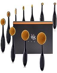 Yoseng Makeup Brush Set of 10Pcs New Fashionable Super Soft Professional Oval Toothbrush Foundation Contour Powder Blush Conceler Eyeliner Blending Brush Cosmetic Brushes Tool Set with Box (Black)