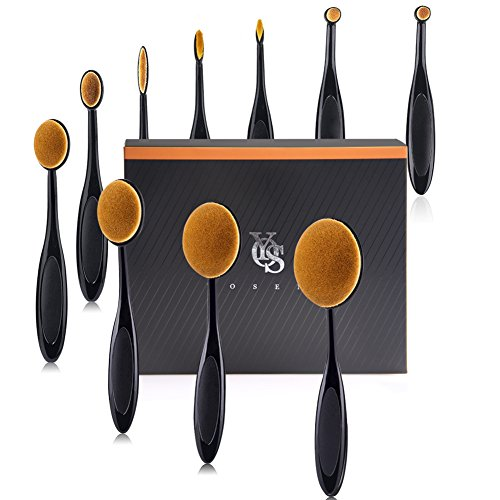 - Yoseng Makeup Brush Set of 10Pcs New Fashionable Super Soft Professional Oval Toothbrush Foundation Contour Powder Blush Conceler Eyeliner Blending Brush Cosmetic Brushes Tool Set with Box (Black)