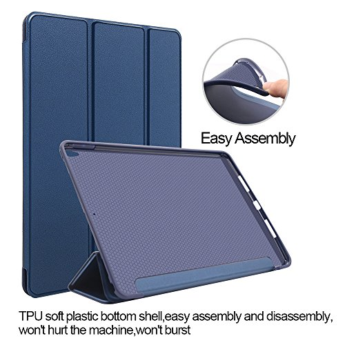 iPad Pro 10.5 Case, CTsing Smart Case Trifold Stand with Auto Sleep Wake Function Microfiber Lining Hard Back Cover for Apple iPad Pro 10.5 inch(2017 Model)_Navy Blue