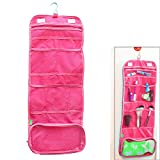 Asiv Portable Travel Canvas Cosmetic Storage Bag with Hook Rose