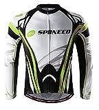 sponeed Men's Bicycle Long Sleeve Bikers Jersey Winter Gear for Men US M Green White