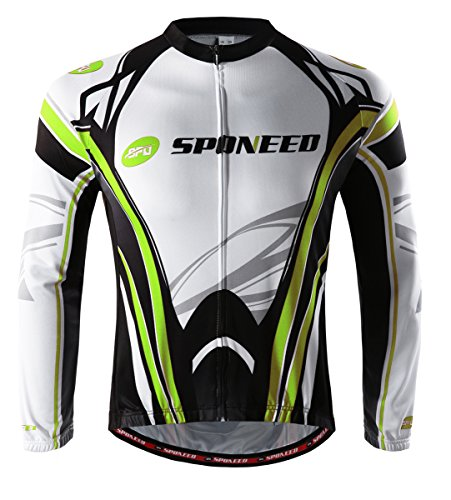 sponeed Men's Bicycle Long Sleeve Bikers Jersey Cycling Shirts XXL Green White