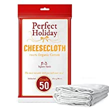 Food Grade Cheesecloth Bag 50 Grade 5.2 Square Yards - 46.8 Square Feet - 100% Organic Cotton by Perfect Holiday