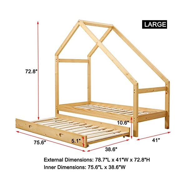 UHOM Children Wood Bed Toddler House Frame Bed Tent Floor Double Bed, Twin Size Bedroom Furniture 4