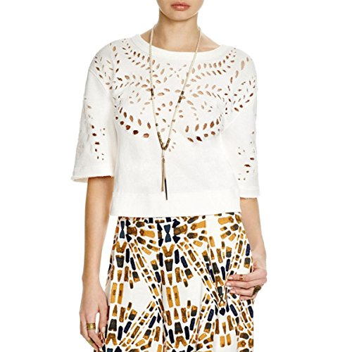 Free People Womens Crumpet French Terry Eyelet Sweatshirt Ivory M by Free People