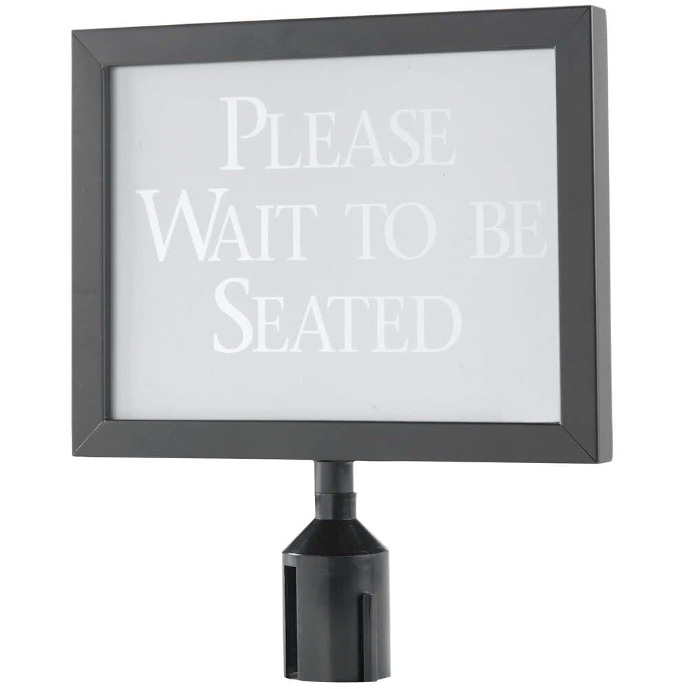 11 1/8'' x 14 1/8'' Black Finish Horizontal Removable Steel Stanchion Sign Frame By TableTop King