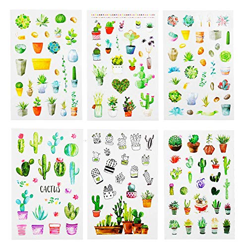 Sanmatic Sticker 6 Sheets(150pcs) Green Cactus Plant Decorative Stickers Scrapbooking Stick Label Diary Stationery Album Bullet Journal Stickers (Green Plant)
