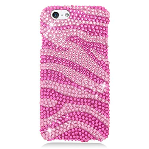 Insten Zebra Rhinestone Diamond Bling Hard Snap-in Case Cover Compatible with Apple iPhone 6/6s, Hot Pink