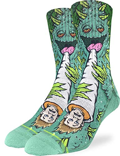Good Luck Sock Men's Weed Smoking a Human Socks – Green, Adult Shoe Size 8-13