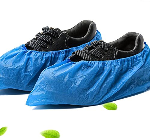 LESGAULEST Home Series 100 Piece Disposable Shoe Covers, Blue