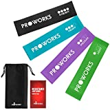 Proworks Resistance Bands | Set of 4 Heavy Duty Fitness Exercise Bands - Includes Workout Booklet -...