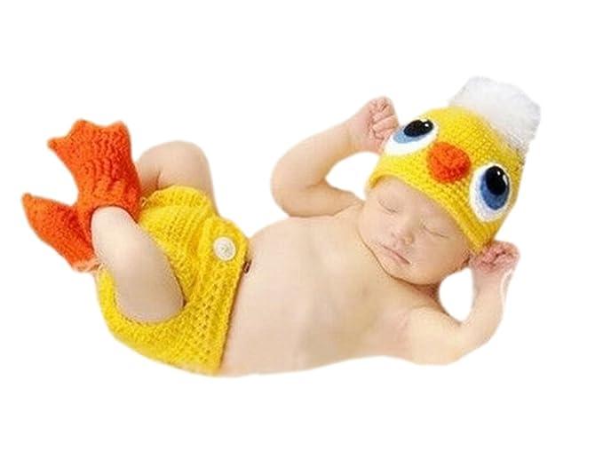 DELEY Recién Nacido Crochet Tejer Pato Amarillo Sombrero ...