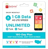 Red Pocket Mobile Express 180 Day Prepaid Phone Plan, No Contract, Free SIM Kit; Unlimited Talk, Unlimited Text & 1 GB of LTE Data - Only $21.25/Month