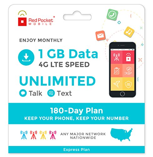 Red Pocket Mobile Express 180 Day Prepaid Phone Plan, No Contract, Free SIM Kit; Unlimited Talk, Unlimited Text & 1 GB of LTE Data - Only $21.25/Month by Red Pocket Mobile