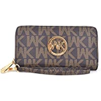 MMK Women's wristlet Wallets Two layer Zipped Around Wallet Card Case with Removable Wristlet Strap