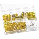 Knorr prandell 216049050 Sortimentsbox Glasperlen (11,5 x 7,5 x 2,5 cm, 80 g) gelb