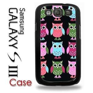 Samsung Galaxy S3 Plastic Case - Cute Owls Owl pattern Print Pink Green