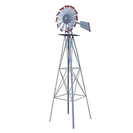 HomGarden 8u0027 Ornamental Garden Windmill Vane Weather Resistant Metal  (Silver)